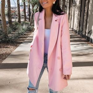 Missguided Pink Double Breasted Formal Coat